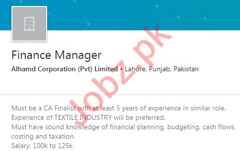 Alhamd Corporation Lahore Jobs 2020 for Finance Manager