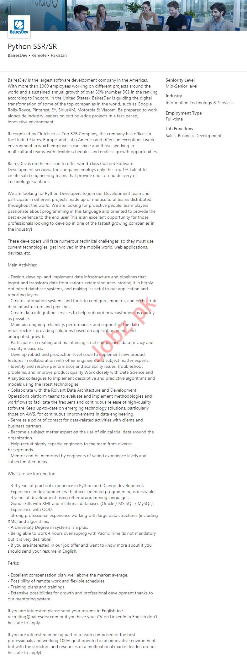 BairesDev Pakistan Jobs 2020 for Python Developer