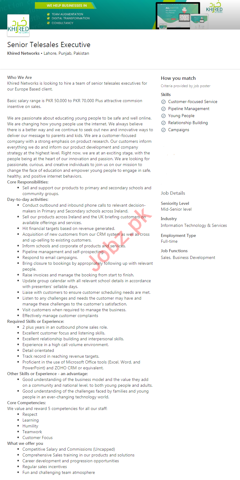 Khired Networks Lahore Jobs 2020 Senior Telesales Executive