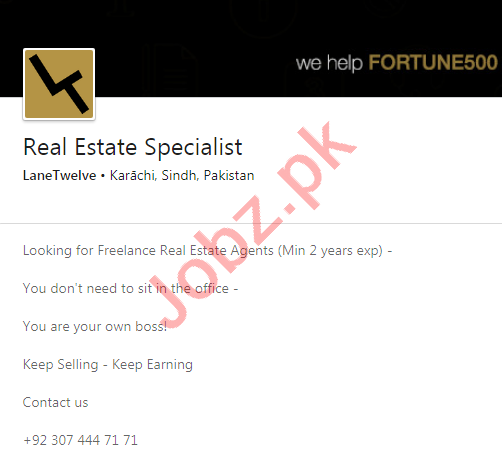 LaneTwelve Karachi Jobs 2020 for Real Estate Specialist