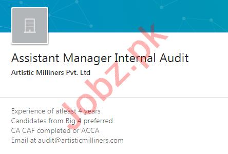Artistic Milliners Karachi Jobs Asst Manager Internal Audit