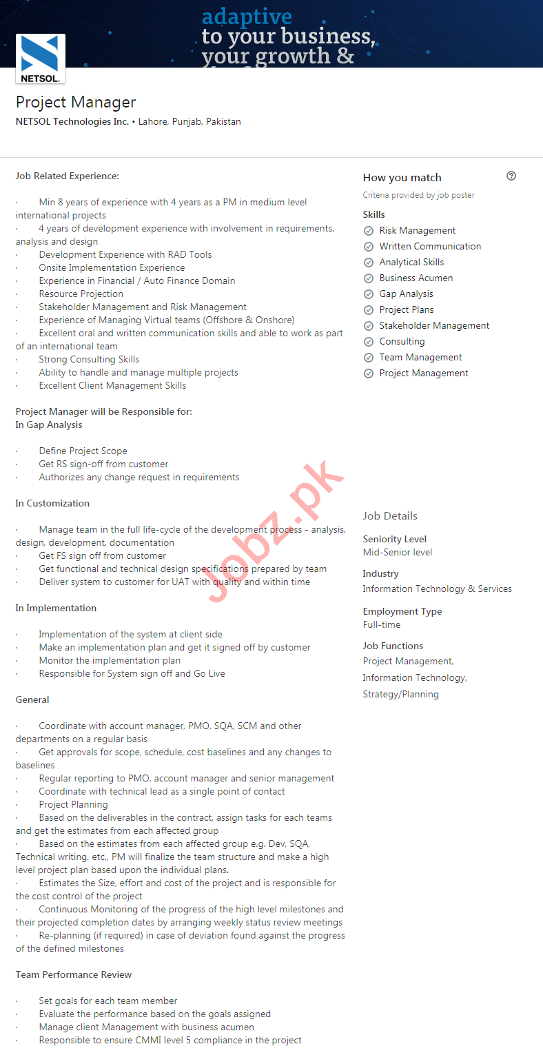 NETSOL Technologies Lahore Jobs 2020 for Project Manager