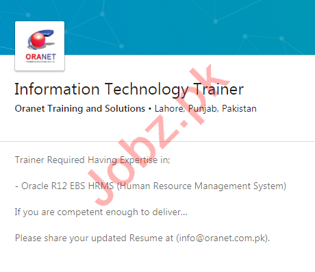 Oranet Training & Solutions Lahore Jobs 2020 for IT Trainer