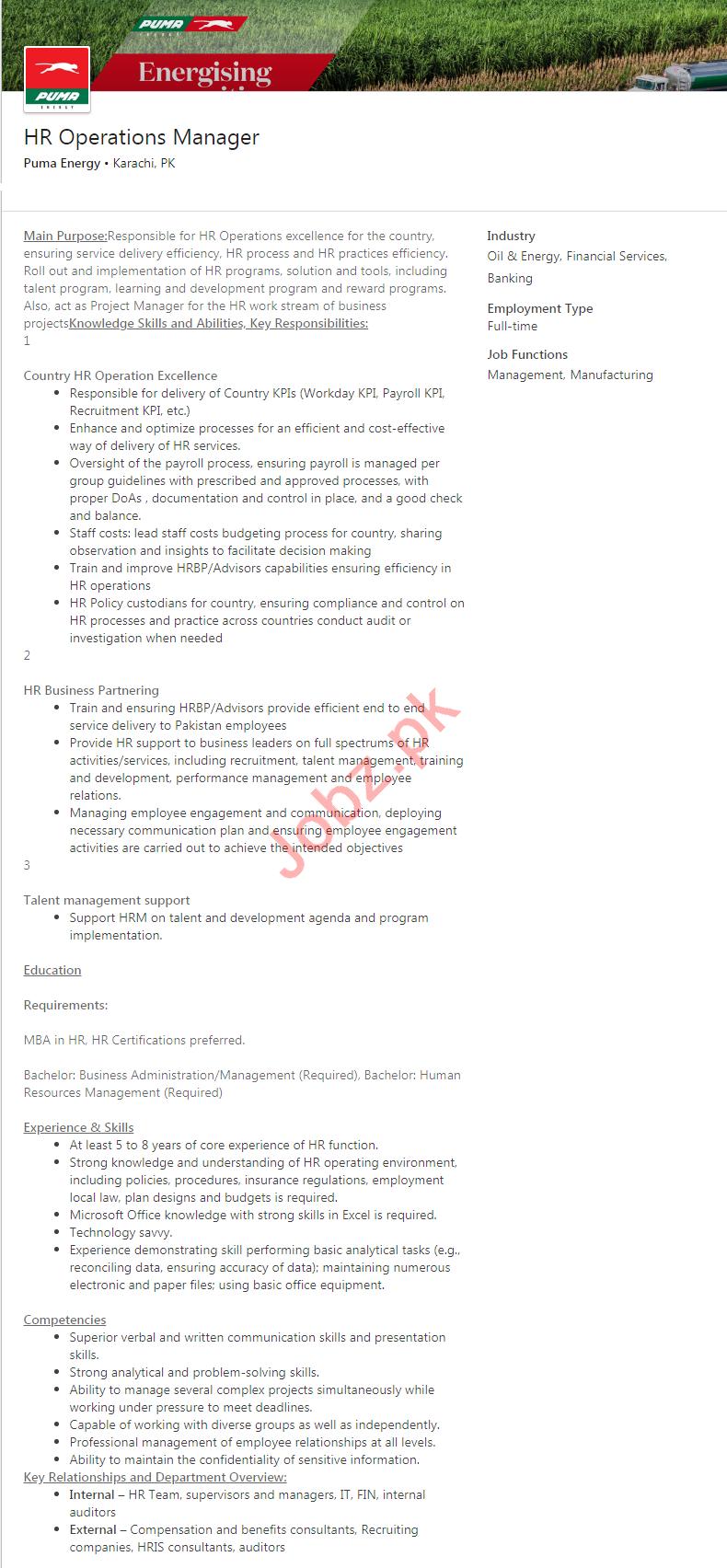 Puma Energy Karachi Jobs 2020 for HR Operations Manager