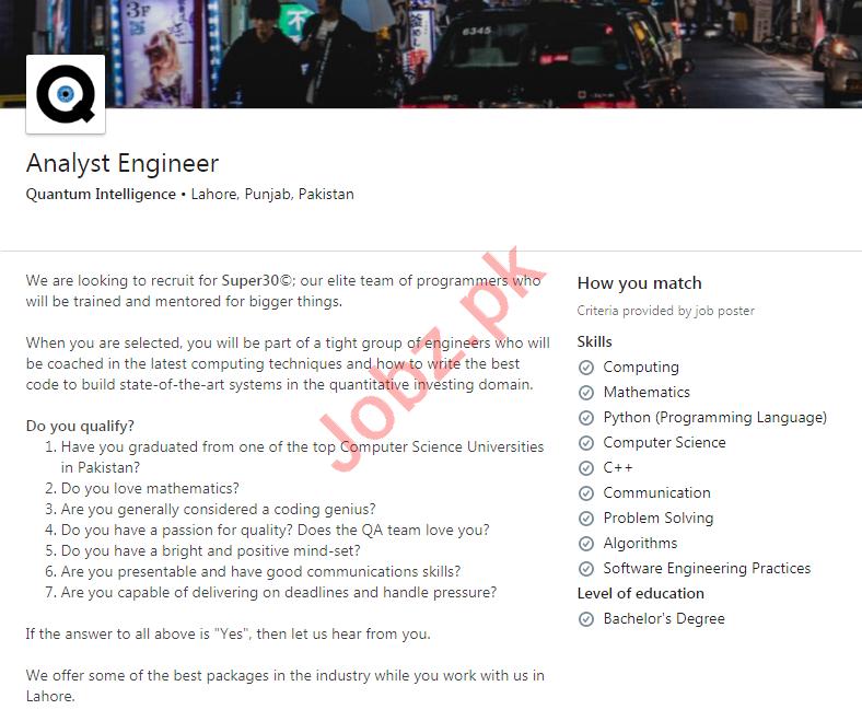 Quantum Intelligence Lahore Jobs 2020 Analyst Engineer