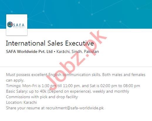 Safa Worldwide Karachi Jobs International Sales Executive