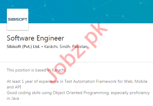 Sibisoft Technologies Karachi Jobs 2020 Software Engineer