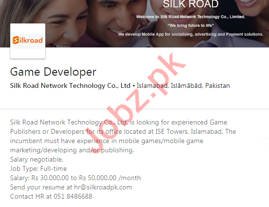 Silk Road Network Technology Islamabad Jobs Game Developer