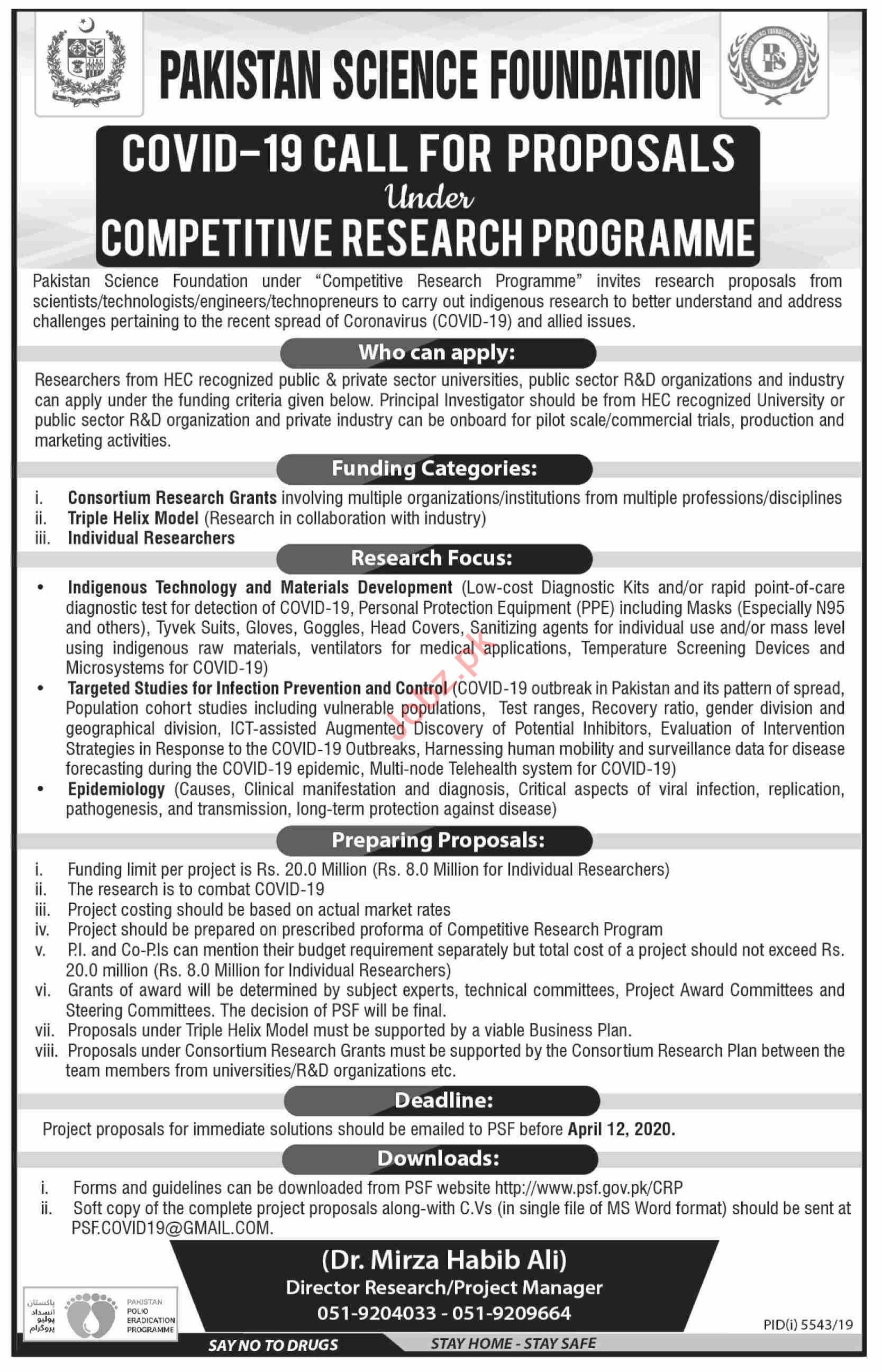 Pakistan Science Foundation Jobs Competitive Research Prog