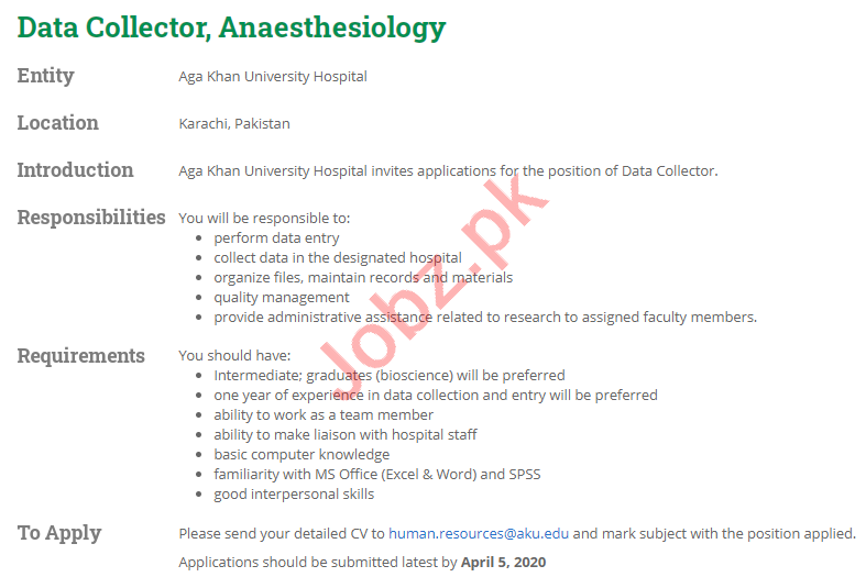 Data Collector Jobs 2020 in Aga Khan University Hospital