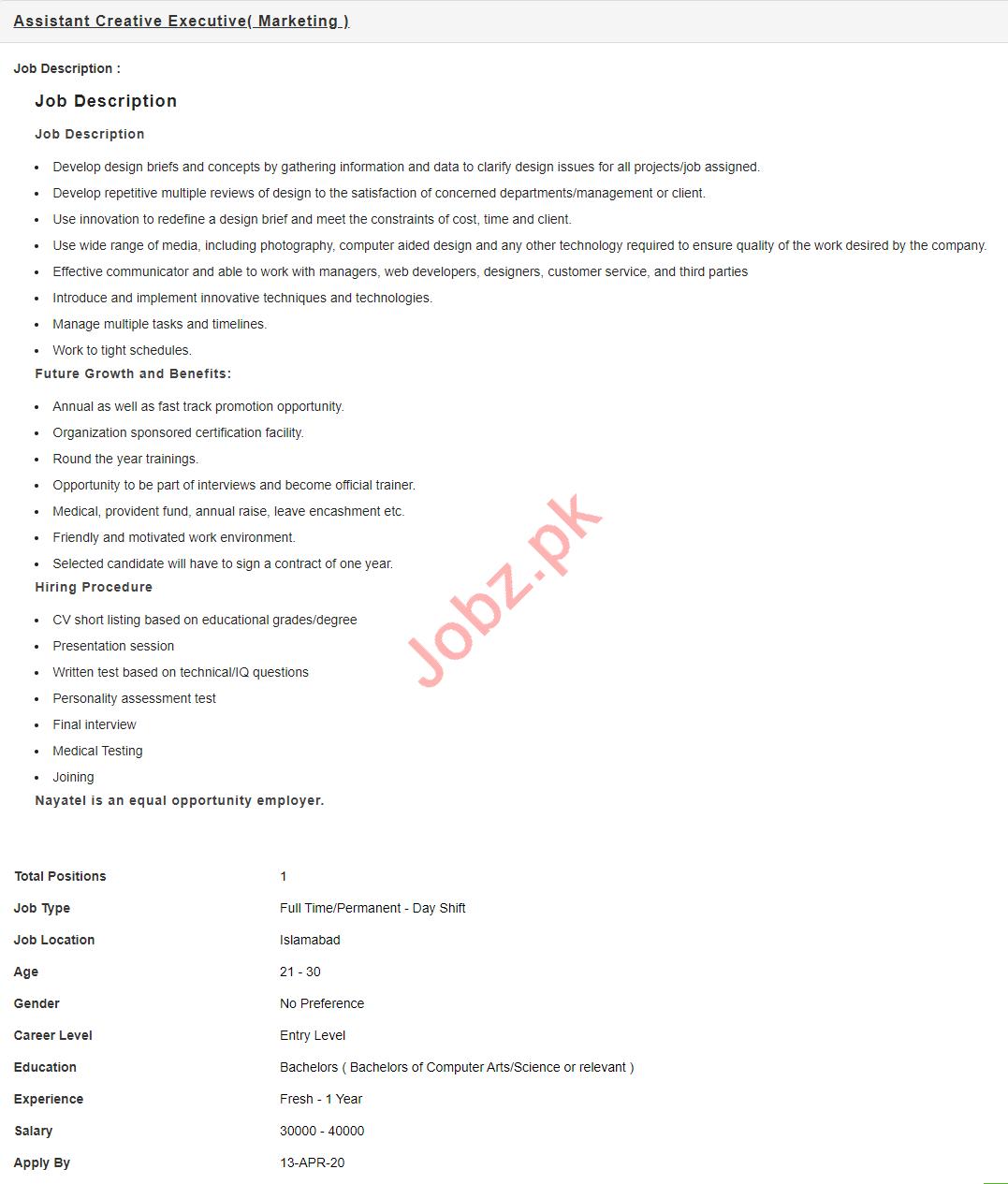 Assistant Creative Executive Jobs 2020 in Nayatel Islamabad