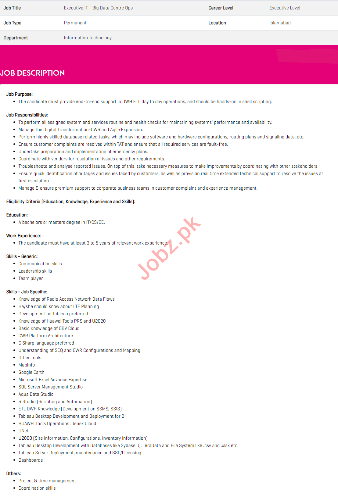 Executive IT Jobs 2020 in Zong Pakistan