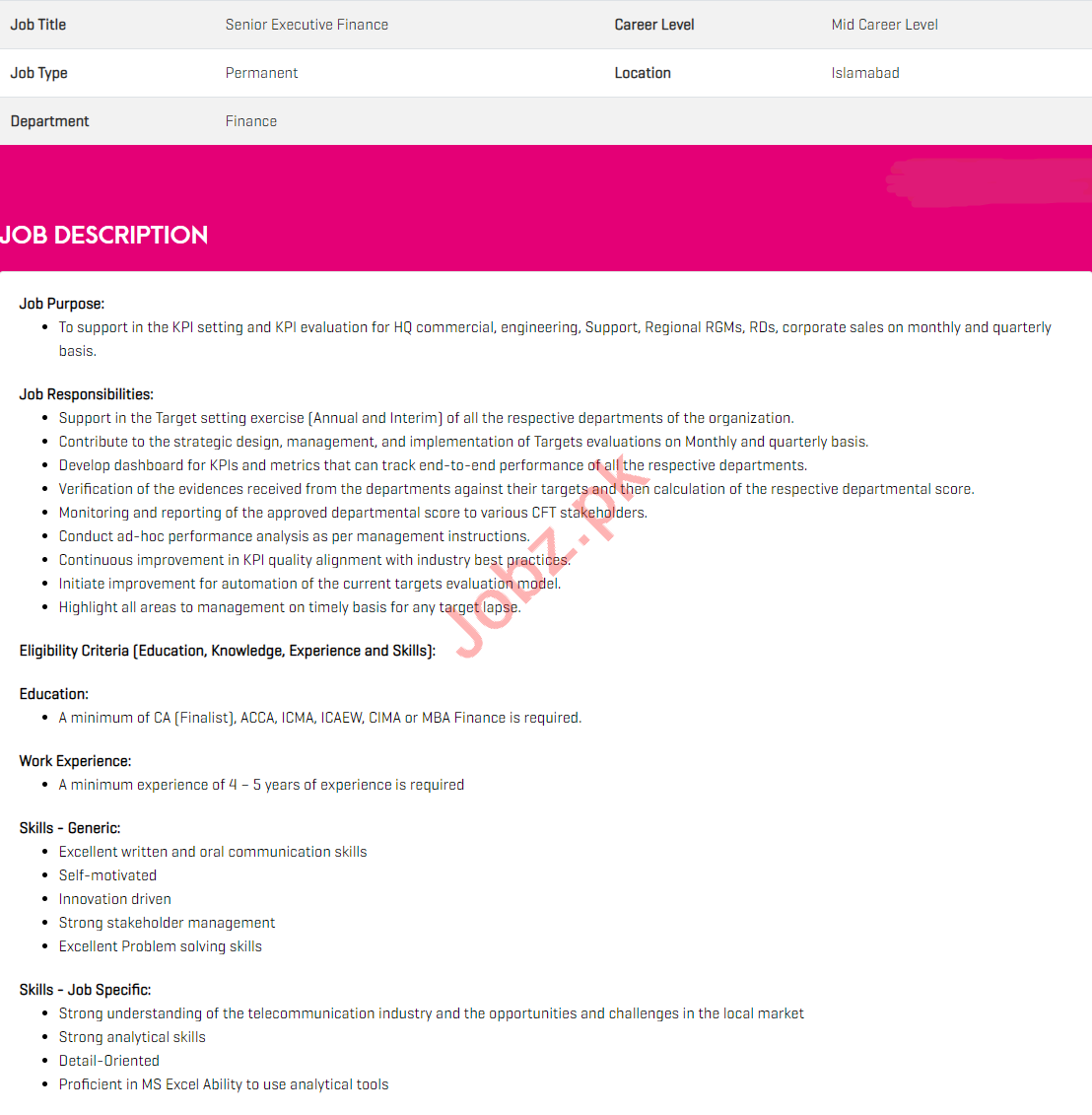 Zong Pakistan Jobs 2020 for Senior Executive Finance