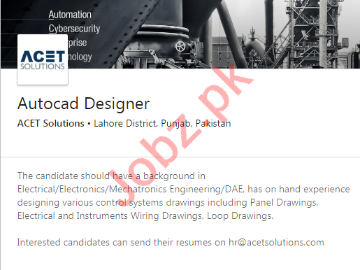 ACET Solutions Lahore Jobs 2020 for AutoCAD Designer