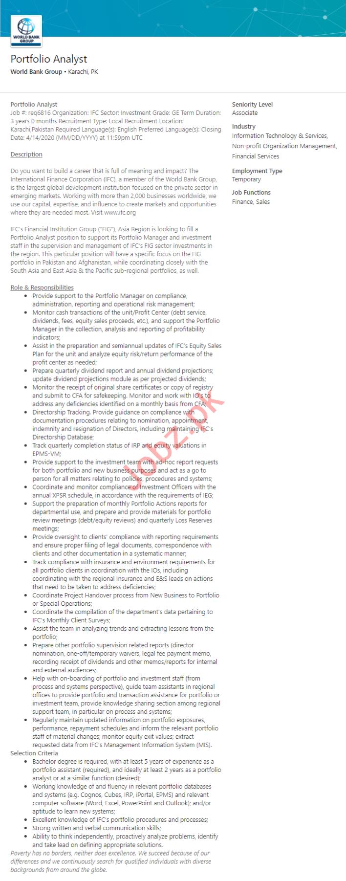 World Bank Group Karachi Jobs 2020 for Portfolio Analyst
