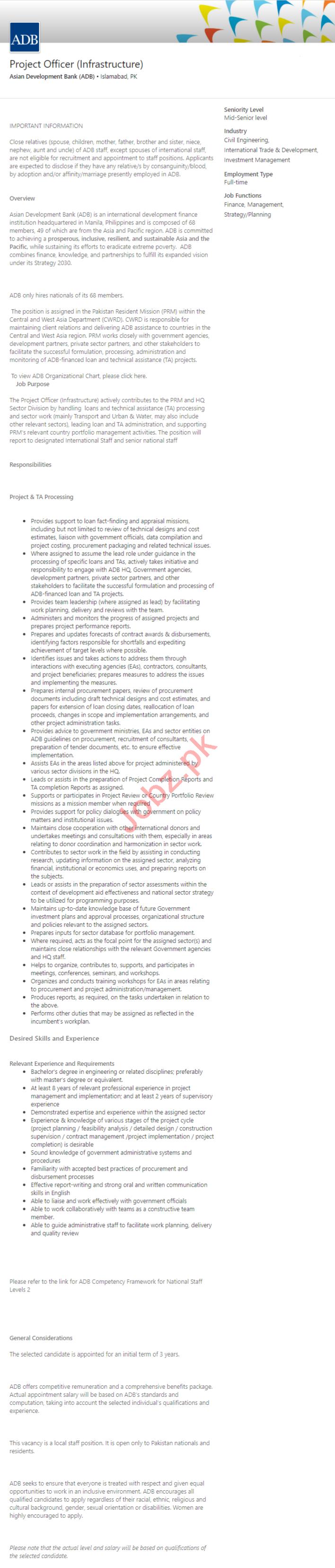 Asian Development Bank ADB Islamabad Jobs 2020