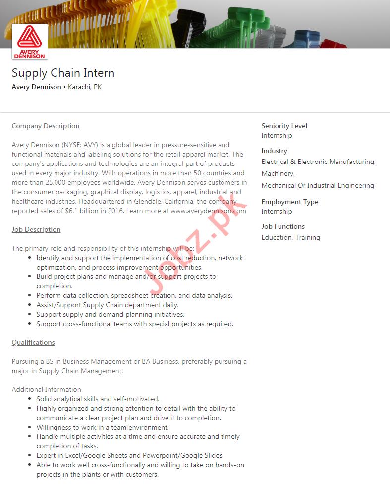 Avery Dennison Karachi Jobs 2020 for Supply Chain intern