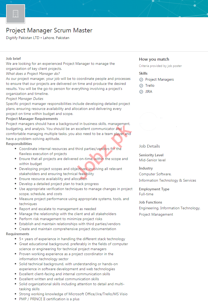 Digitify Pakistan Jobs 2020 Project Manager Scrum Master
