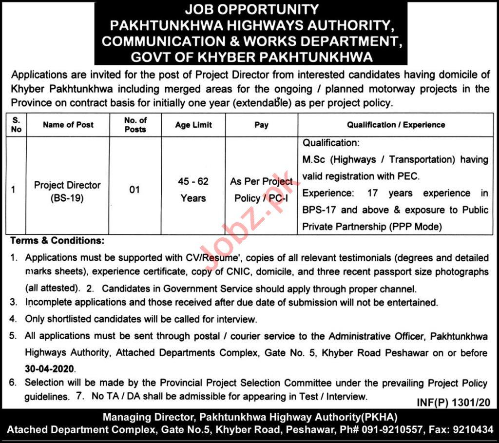 Pakhtunkhwa Highways Authority PKHA Jobs 2020