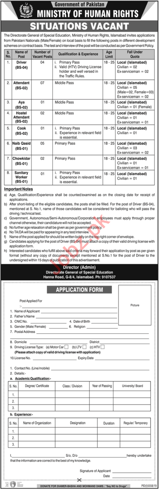 Ministry of Human Rights MOHR Islamabad Jobs 2020