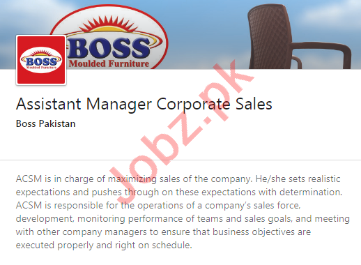 Boss Pakistan Jobs 2020 for Assistant Manager Corporate Sale