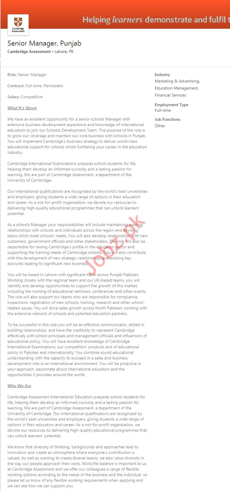 Cambridge Assessment Lahore Jobs 2020 Senior Manager