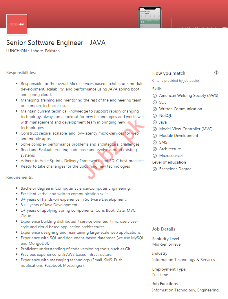 Lunch ON Pakistan Jobs 2020 Senior Software Engineer