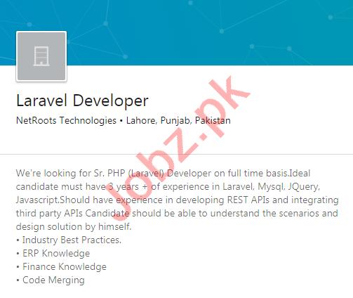 NetRoots Technologies Lahore Jobs 2020 for Laravel Developer