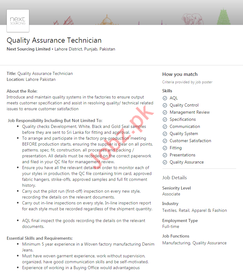 Next Sourcing Limited Lahore Jobs 2020 for QA Technicians