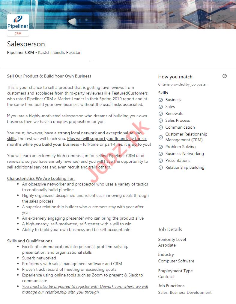 Pipeliner CRM Karachi Jobs 2020 for Salesperson
