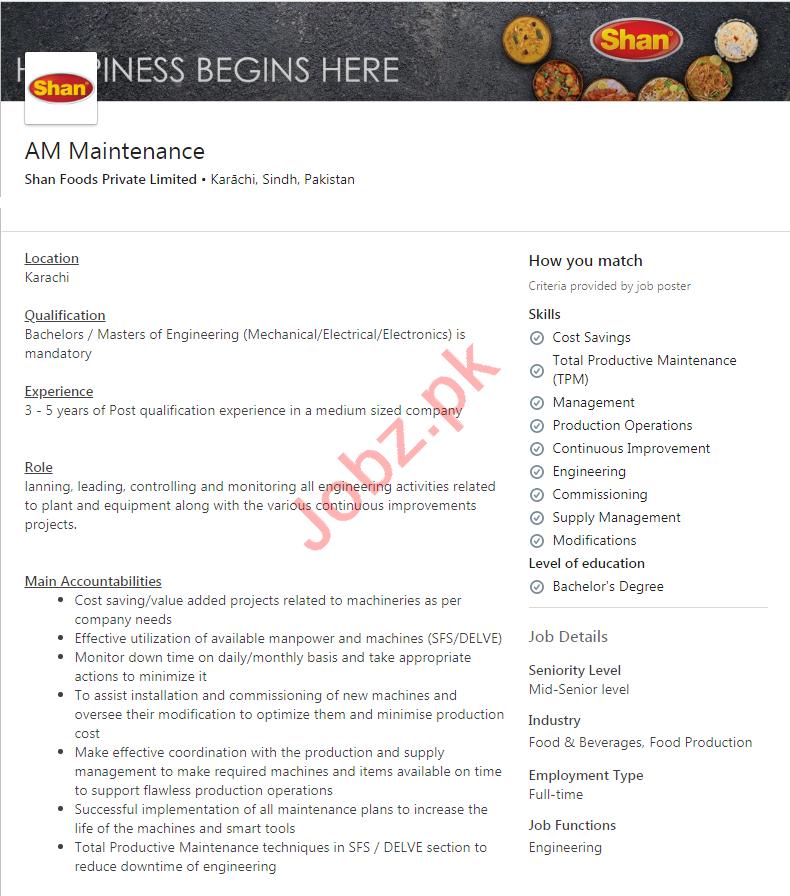Shan Foods Karachi Jobs 2020 for Assistant Manager