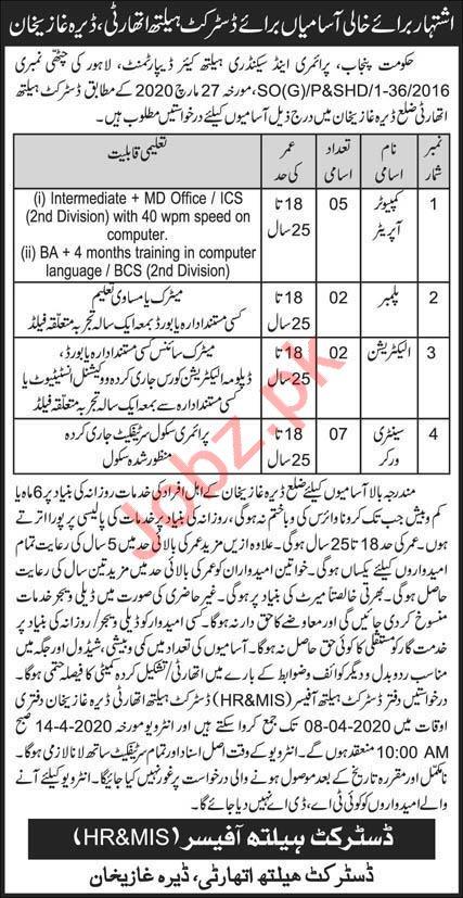 District Health Authority DHA Dera Ghazi Khan Jobs 2020