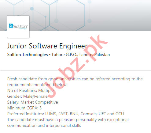 Soliton Technologies Lahore Jobs Junior Software Engineer