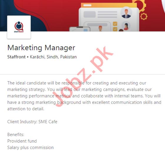 Staffront Pakistan Jobs 2020 for Marketing Manager