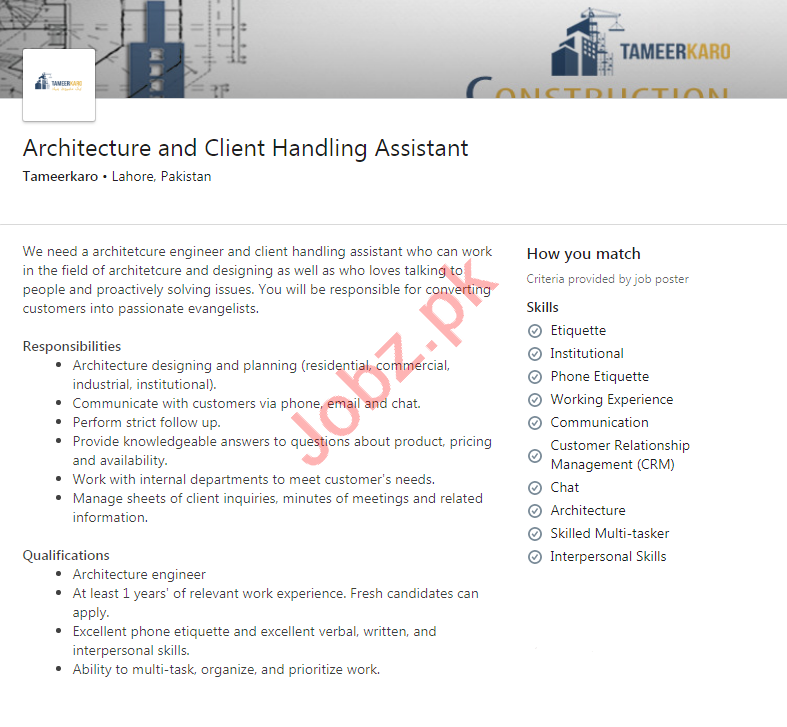 Tameer Karo Lahore Jobs 2020 for Architecture