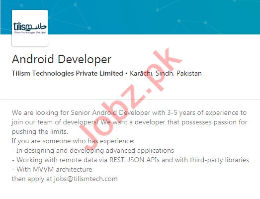 Tilism Technologies Karachi Jobs 2020 for Android Developer