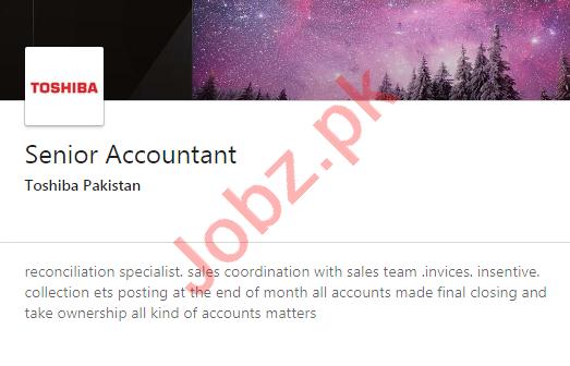 Toshiba Pakistan Jobs 2020 for Senior Accountant