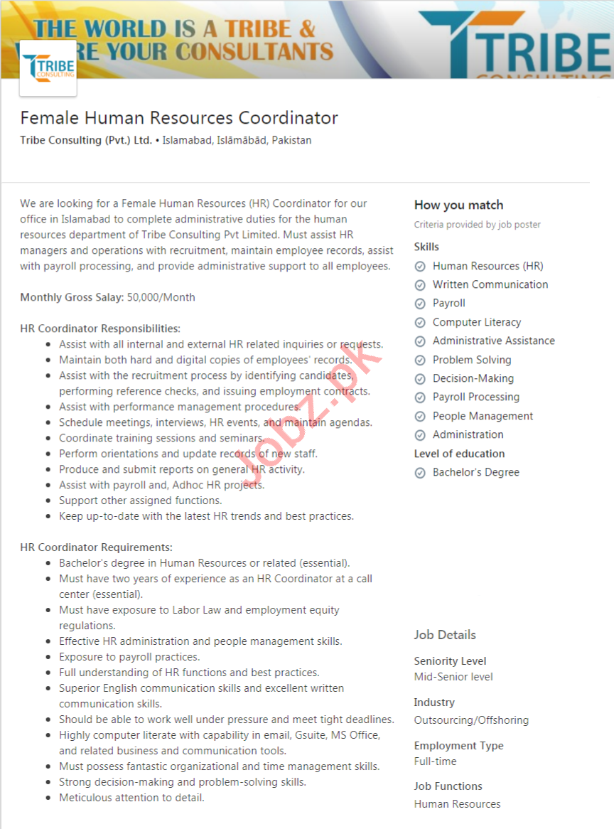 Tribe Consulting Islamabad Jobs Female HR Coordinator