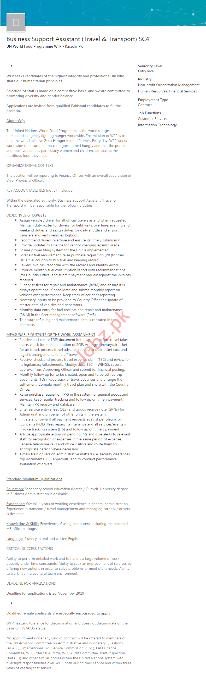 UN World Food Programme WFP Karachi Jobs 2020