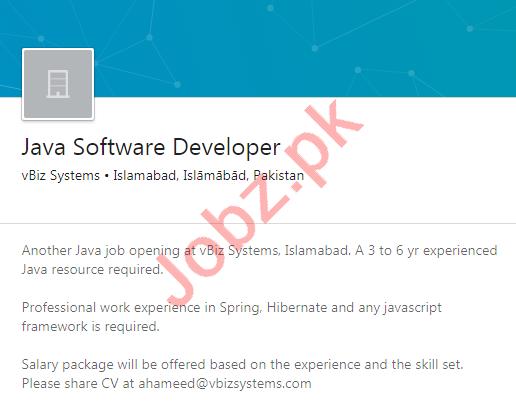 vBiz Systems Islamabad Jobs 2020 Java Software Developer
