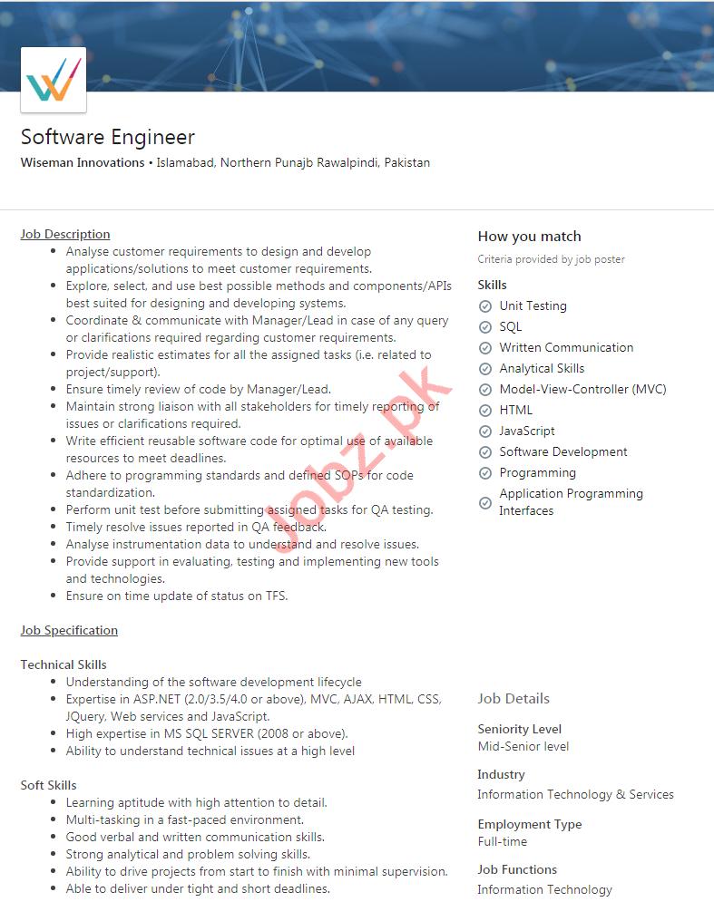 Wiseman Innovations Islamabad Jobs 2020 Software Engineer