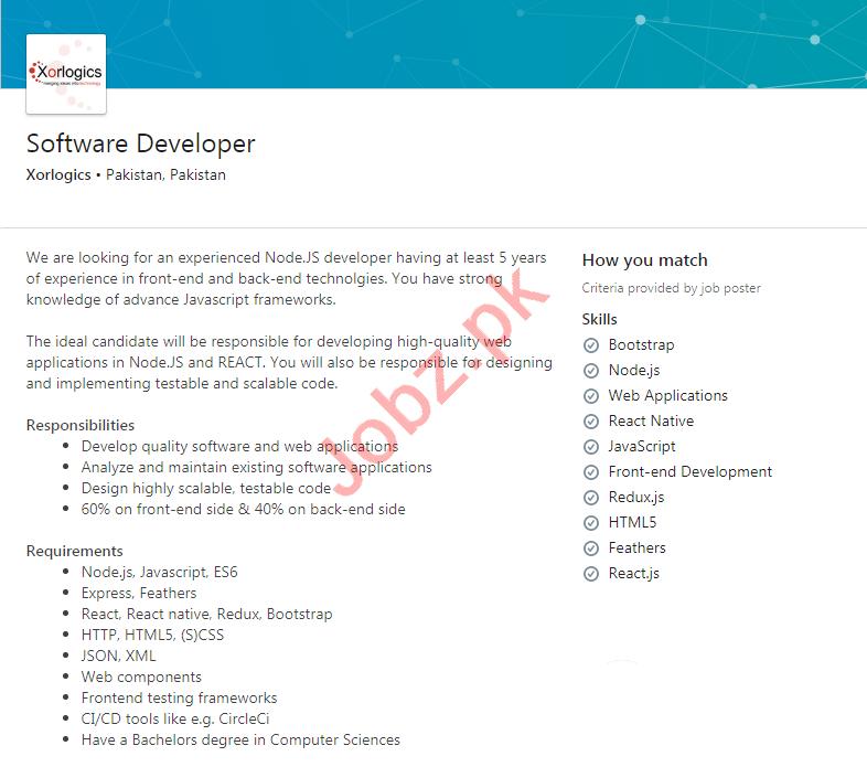 Xorlogics Pakistan Jobs 2020 for Software Developer