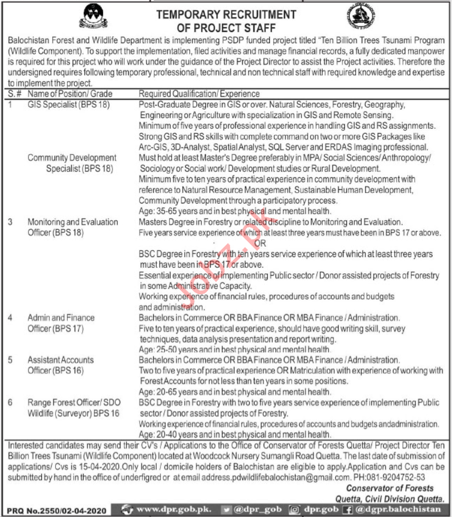 Balochistan Forest & Wildlife Department Quetta Jobs 2020