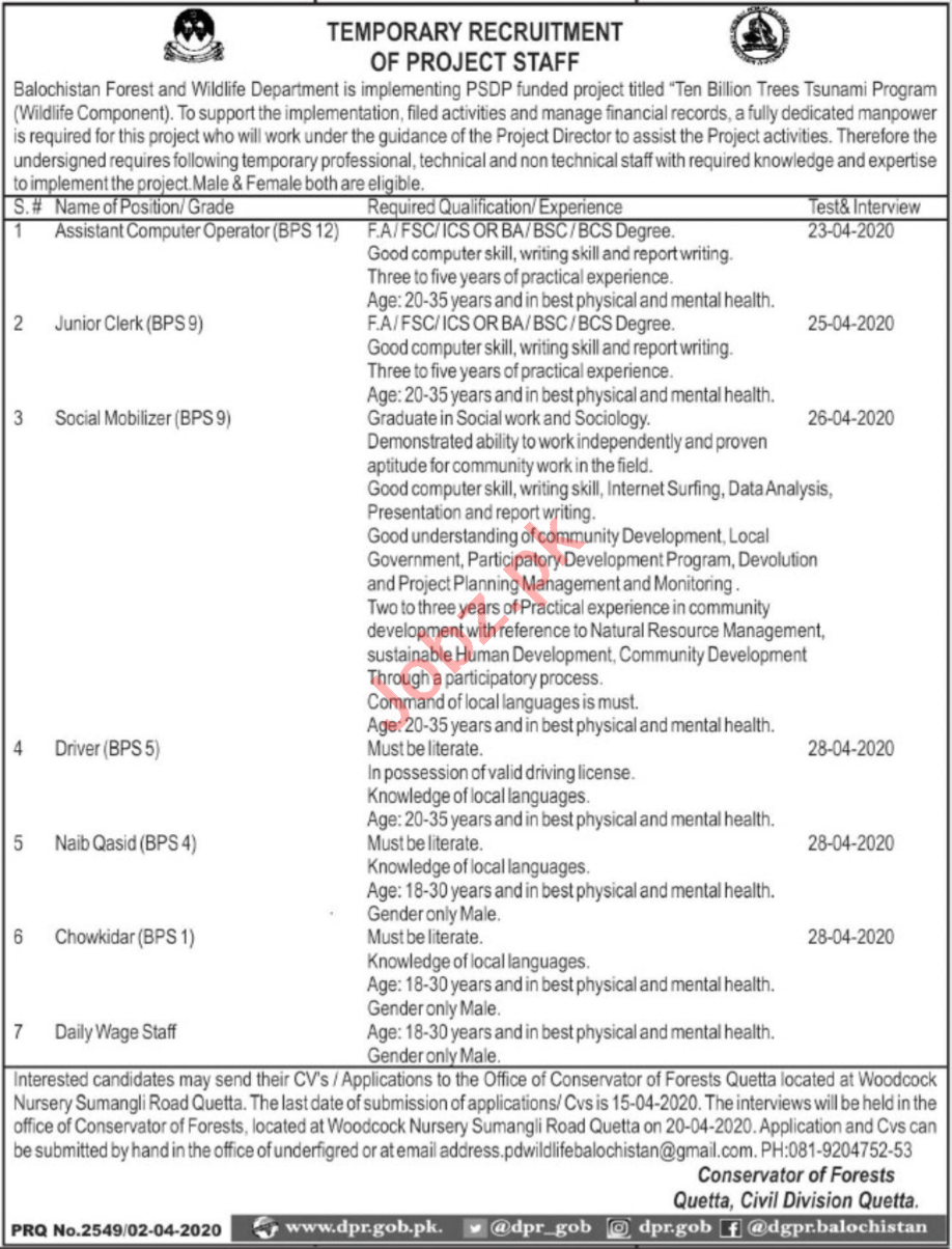 Balochistan Ten Billion Tree Tsunami Programme Jobs 2020