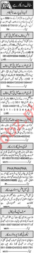 General Staff Jobs Career Opportunity in Islamabad