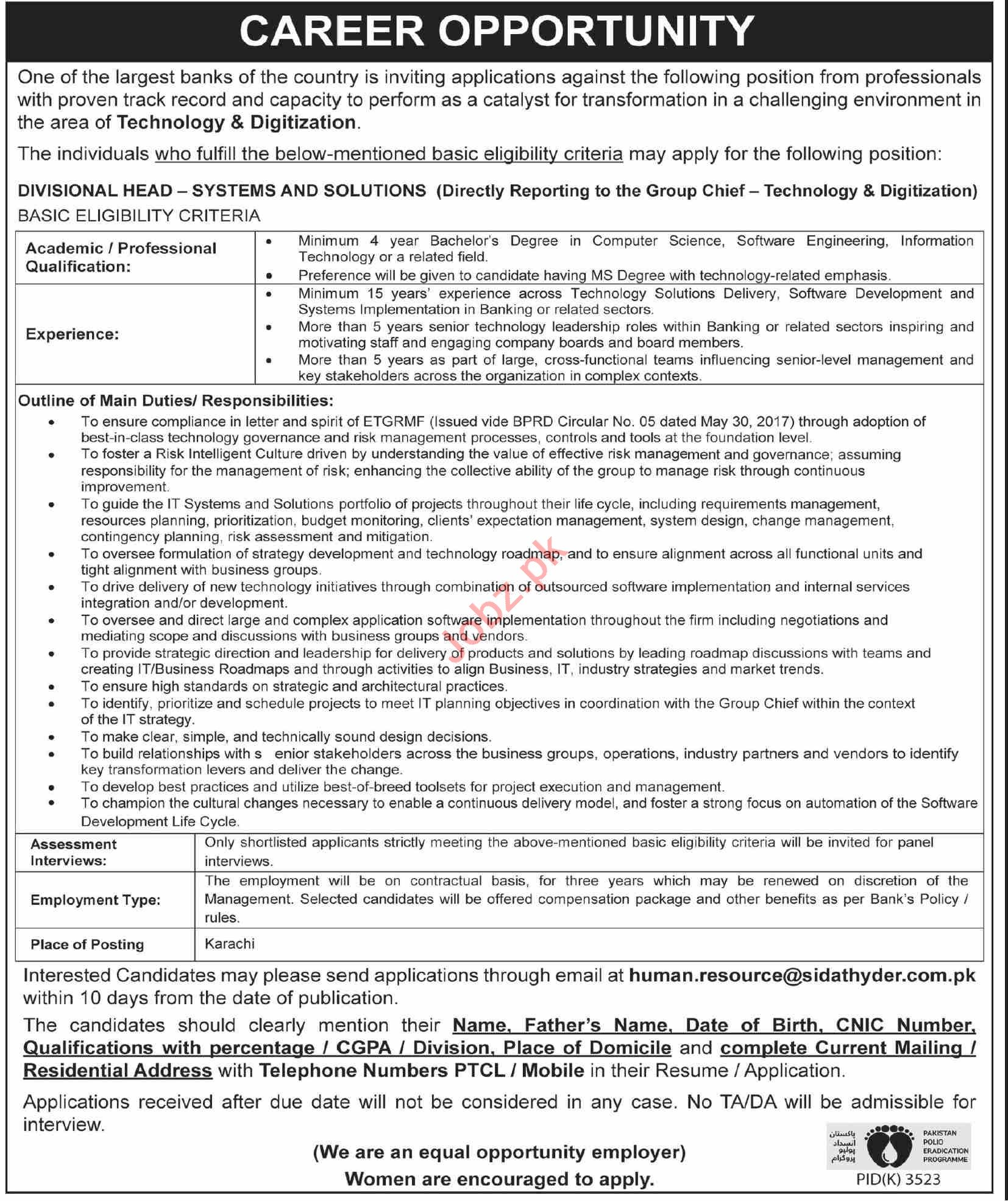 Divisional Head Systems & Solutions Jobs 2020