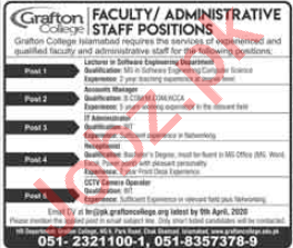 Grafton College Islamabad Jobs for Faculty & Administrative
