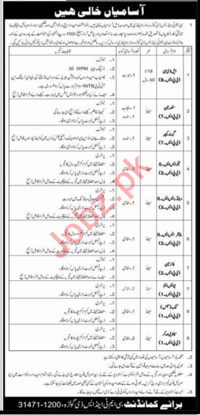 Pakistan Army CMT & SD Golra Road Rawalpindi Jobs 2020