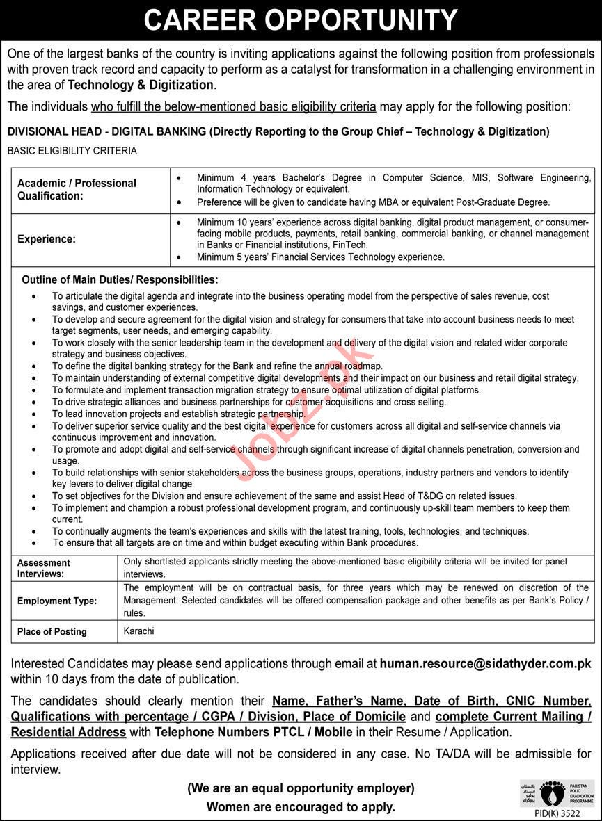 Divisional Head Digital Banking Jobs 2020 Career Opportunity
