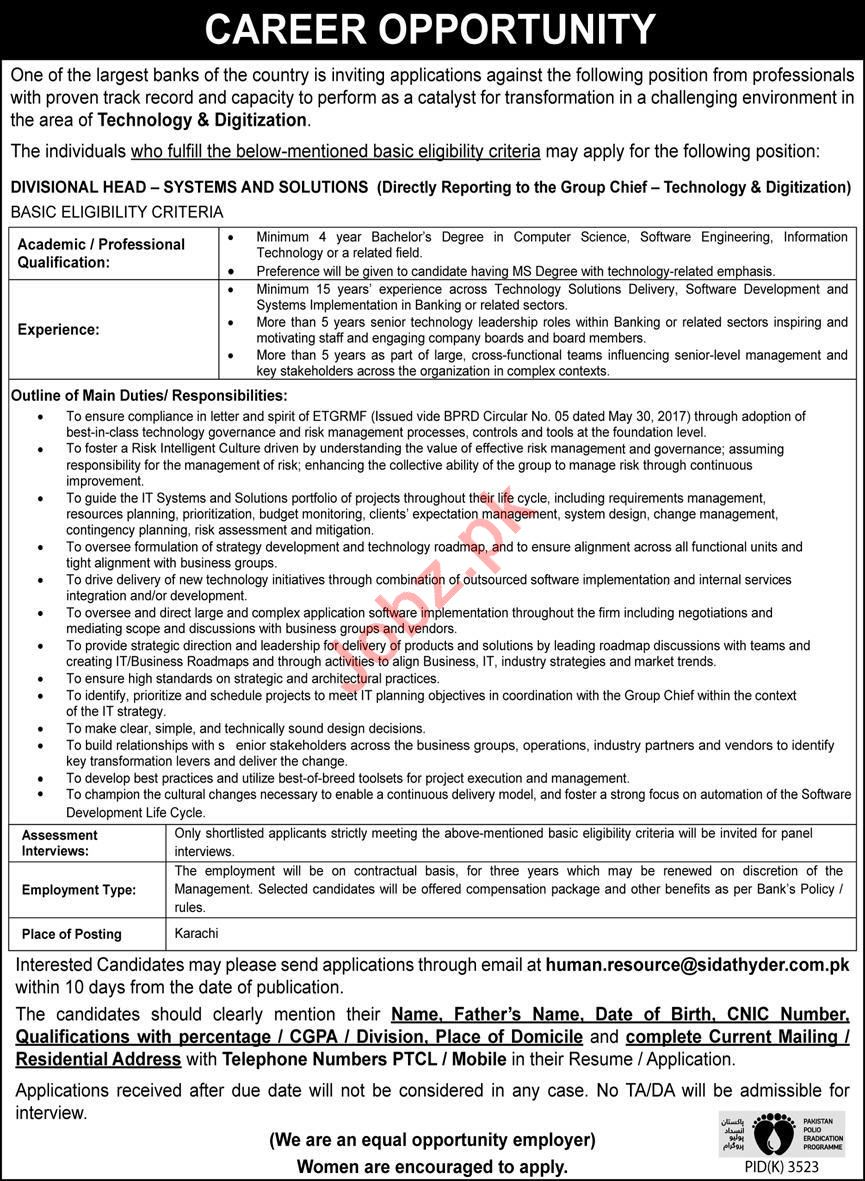 Divisional Head Systems & Solutions Jobs Open in Karachi